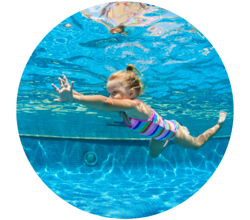 GIRL SWIMMING IN POOL IN COLDER MONTHS